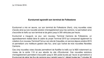 Eurotunnel agrandit son terminal de Folkestone