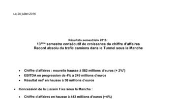 Résultats semestriels 2016 : 13ème semestre consécutif de croissance du chiffre d'affaires - Record absolu du trafic camions dans le Tunnel sous la Manche