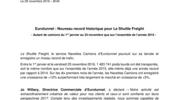 Eurotunnel : Nouveau record historique pour Le Shuttle Freight