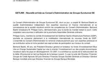 GETLINK : Nouvelle arrivée au Conseil d'Administration de Groupe Eurotunnel SE