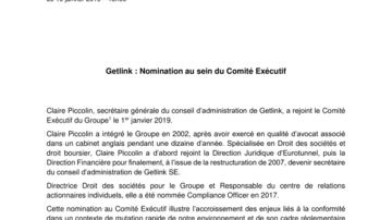 Getlink : Nomination au sein du Comité Exécutif