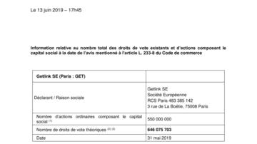 Information relative au nombre total des droits de vote existants et d'actions composant le capital social à la date de l'avis mentionné à l'article L. 233-8 du Code de commerce