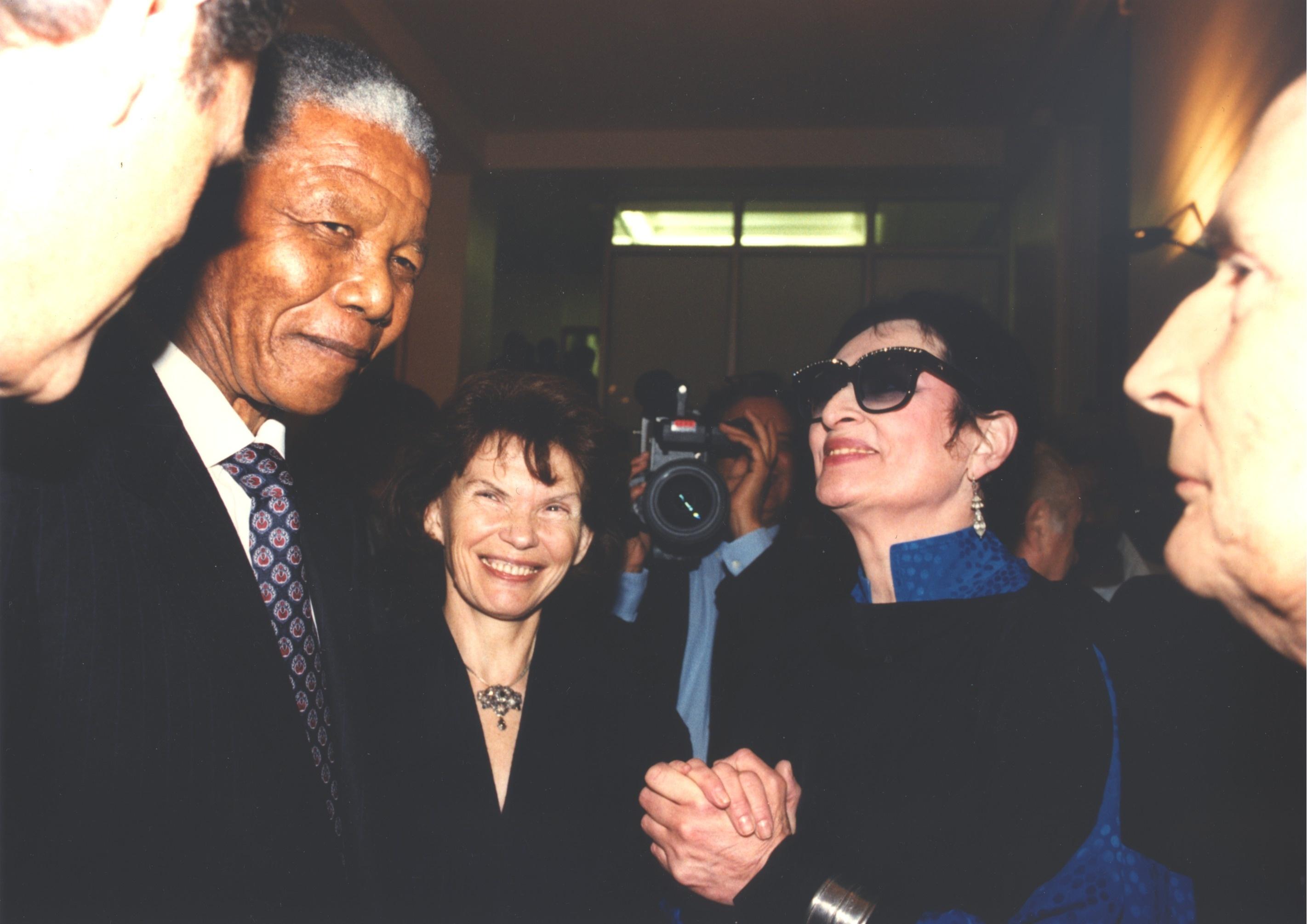 Premiere visite officielle de Nelson Mandela à Paris avec Barbara 1991