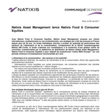 Natixis Asset Management lance Natixis Food & Consumer Equities