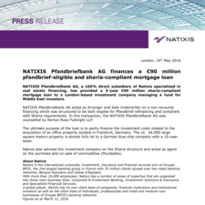 NATIXIS Pfandbriefbank AG finances a €90 million pfandbrief-eligible and sharia-compliant mortgage loan