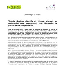 Fédéris Gestion d'Actifs et Mirova signent un partenariat pour promouvoir une démarche de gouvernance responsable