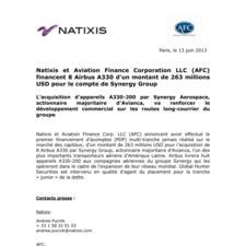 Natixis et Aviation Finance Corporation LLC (AFC) financent 8 Airbus A330 d'un montant de 263 millions USD pour le compte de Synergy Group