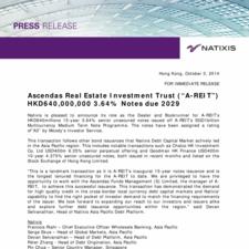 "Ascendas Real Estate Investment Trust (""A-REIT"") HKD640,000,000 3.64% Notes due 2029"