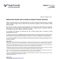 Natixis Hires Gareth John as Head of Aviation Finance Americas