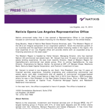 Natixis Opens Los Angeles Representative Office