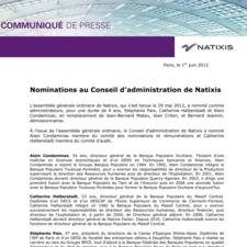 Nominations au Conseil d'administration de Natixis