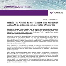 Natixis et Natixis Factor lancent une titrisation Aaa/AAA de créances commerciales affacturées