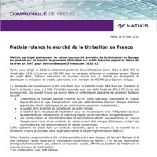 Natixis relance la titrisation en France