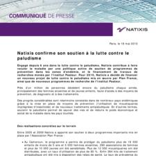 Natixis confirme son soutien à la lutte contre le paludisme