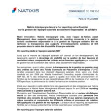 Natixis Interépargne lance le 1er reporting extra-financier sur la gestion de l'épargne salariale socialement responsable et solidaire