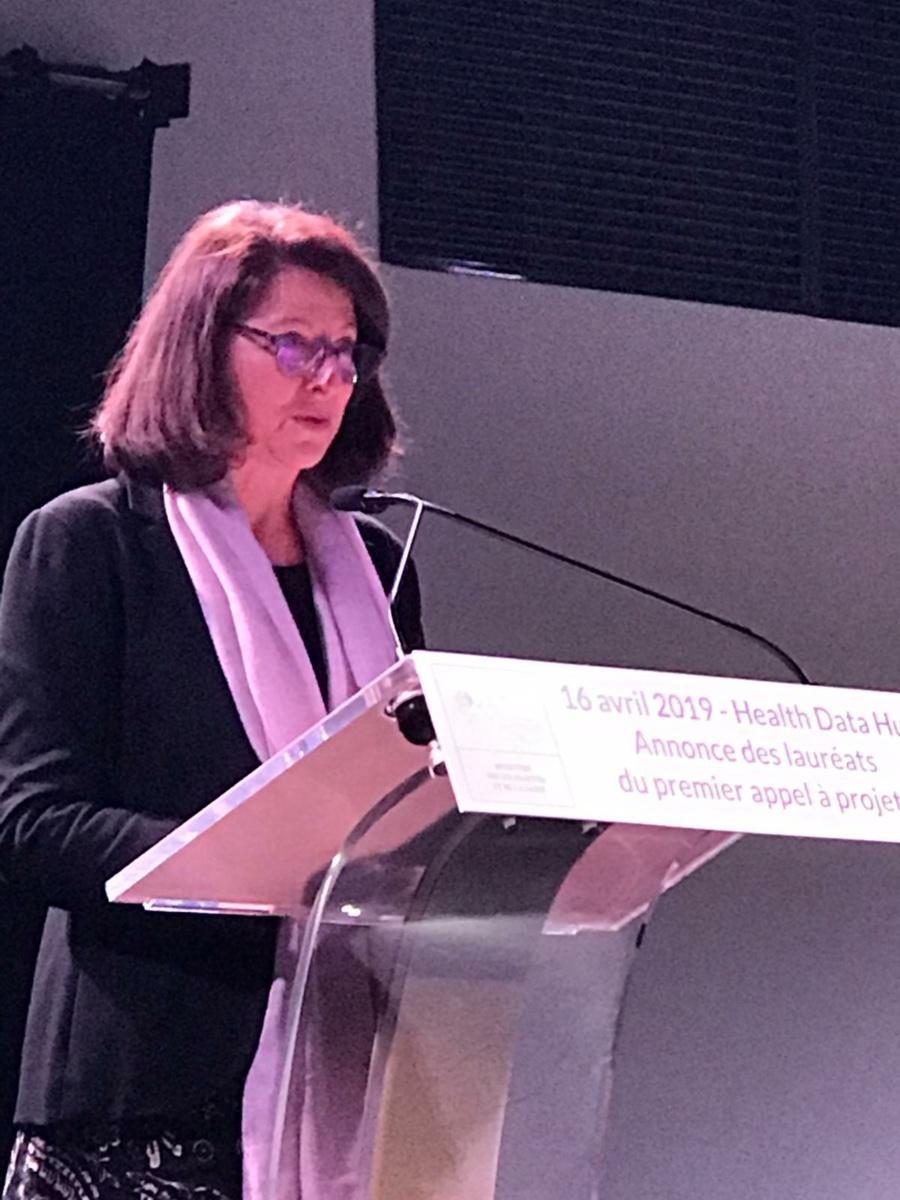 Agnès Buzyn, ministre de la Santé, annonce les 10 lauréats de l'appel à projets du Health Data Hub, le 16 avril 2019.