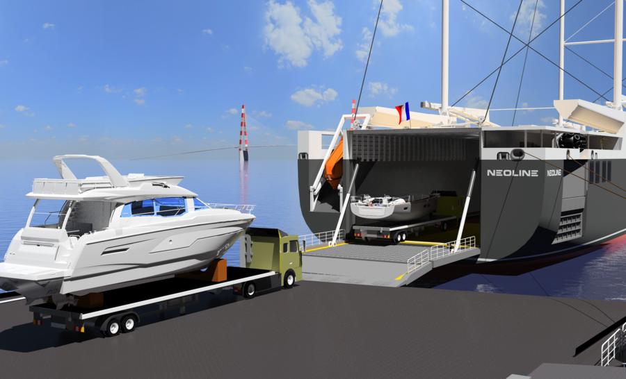 Bateaux du Groupe Beneteau chargés à bord du cargo roulier NEOLINE