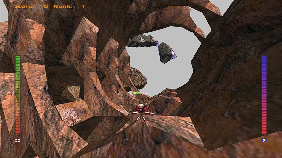 Screenshot of Avoyd 1999 showing the original constrained morphing voxels with avatar for scale