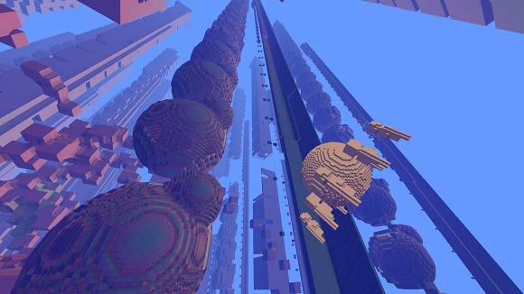 Avoyd screenshot - a voxel world (in yellow) scaled down by a factor of a hundred