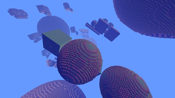 Avoyd screenshot - several voxel worlds with independent axes