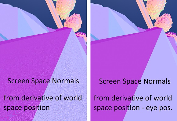 Precision issues with normals from position derivatives in the pixel shader.
