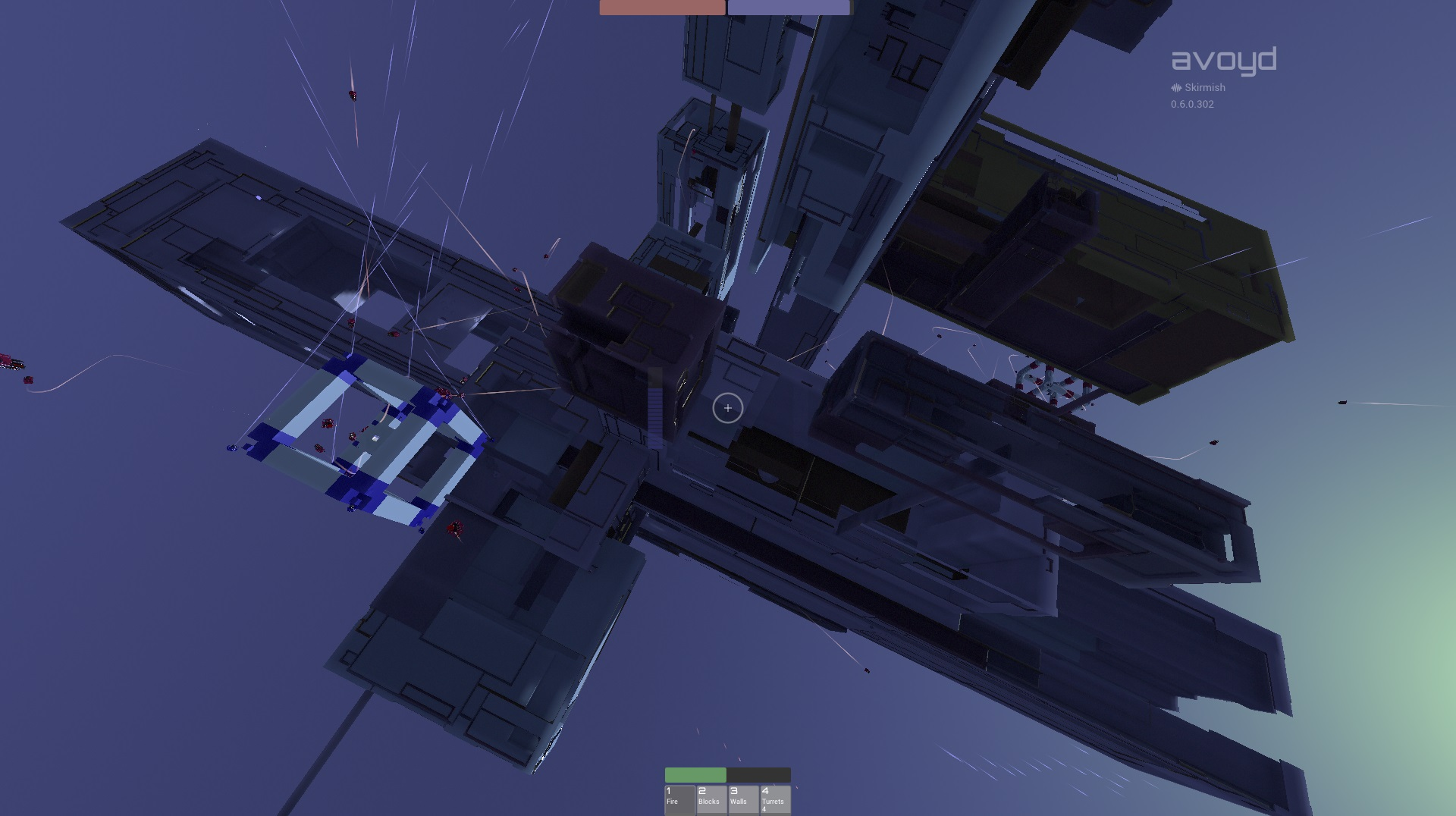 In-game screenshot of Skirmish mode in Avoyd, taken from afar, shows the friendly (blue) and opposition (red) MegaSpawners and drones having a go at each other (hard difficulty). Procedural world seed: 14CFEB5C