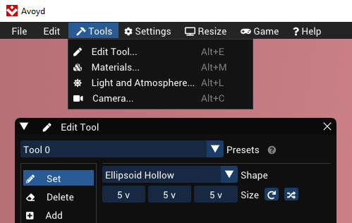 Avoyd Voxel Editor: Alt+E toggles the Edit Tool window and the edit cursor. The Materials, Light and Atmosphere and Camera windows have keyboard shortcuts Alt+M, Alt+L and Alt+C