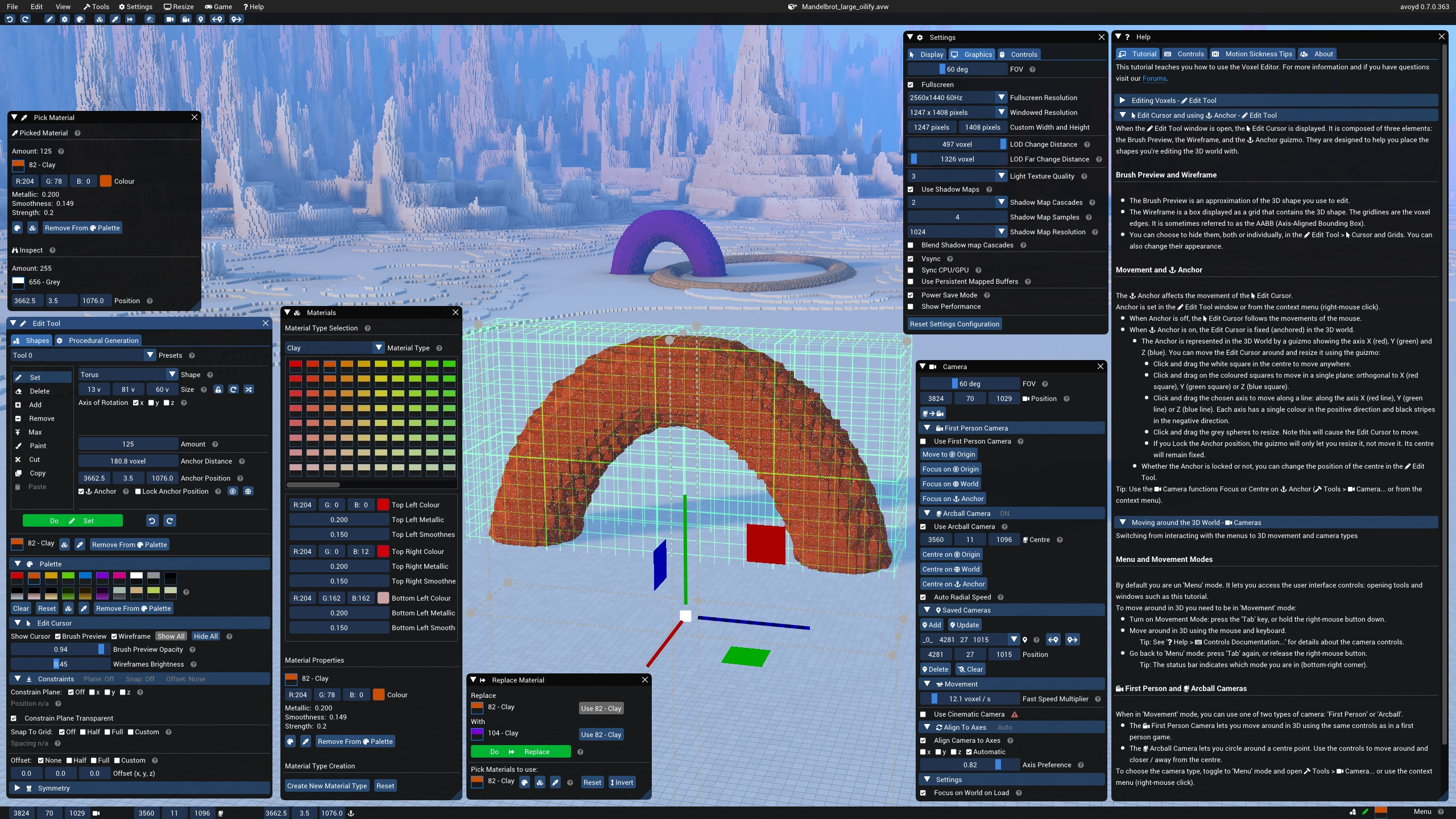 Avoyd Voxel Editor Tools and Torus shape