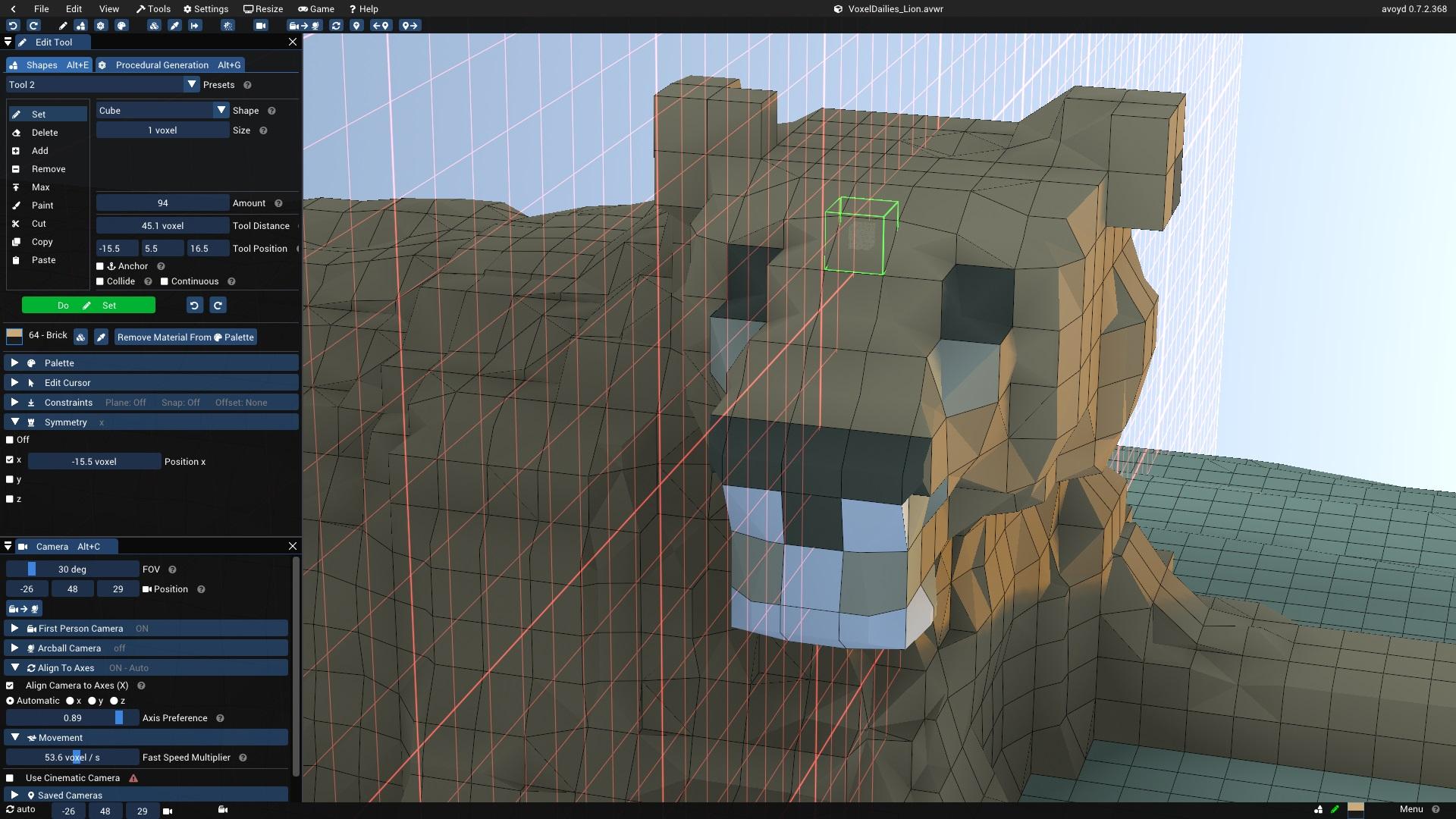 Half-voxel precision symmetry in Avoyd's Voxel Editor