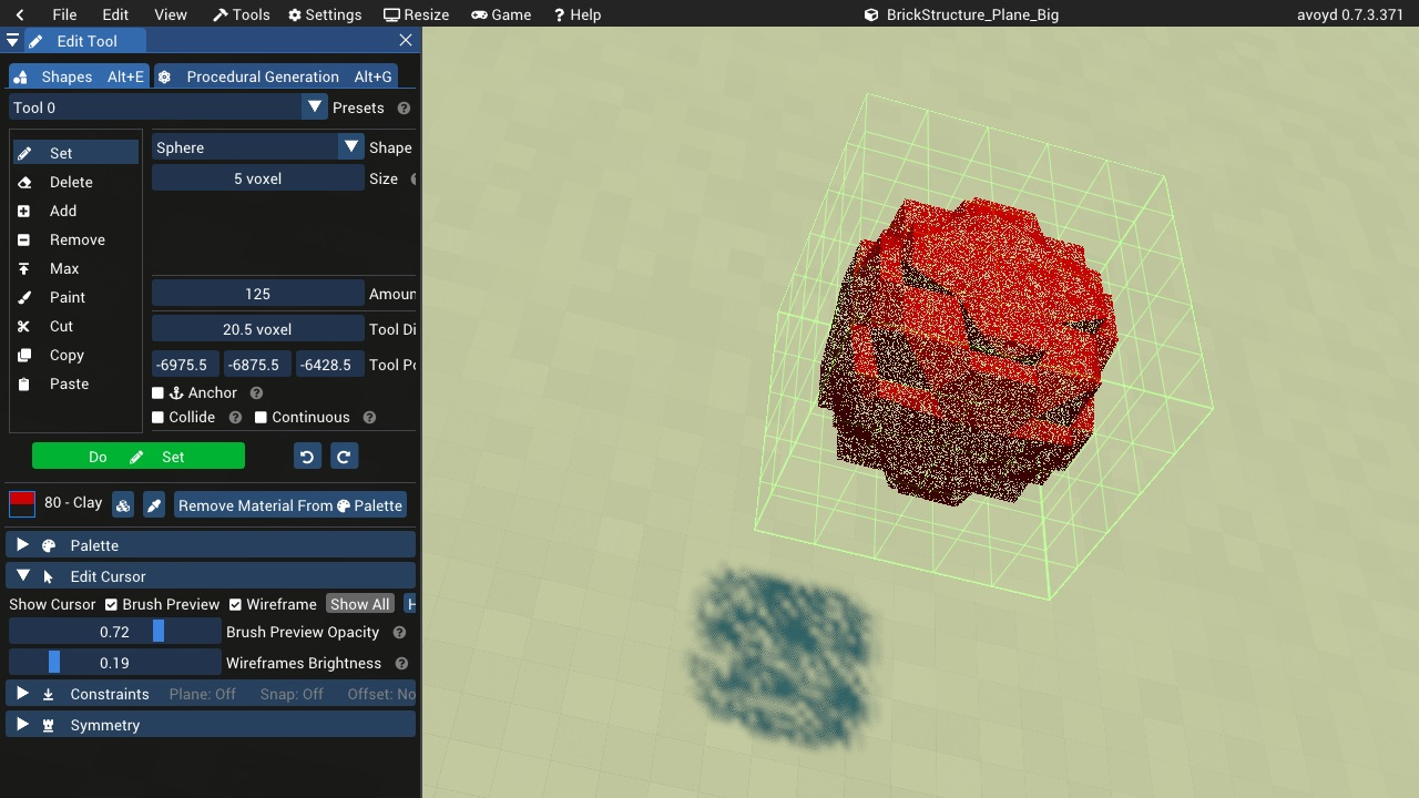 Edit Tool - stochastically transparent brush preview and shadow - new in Avoyd 0.7.3