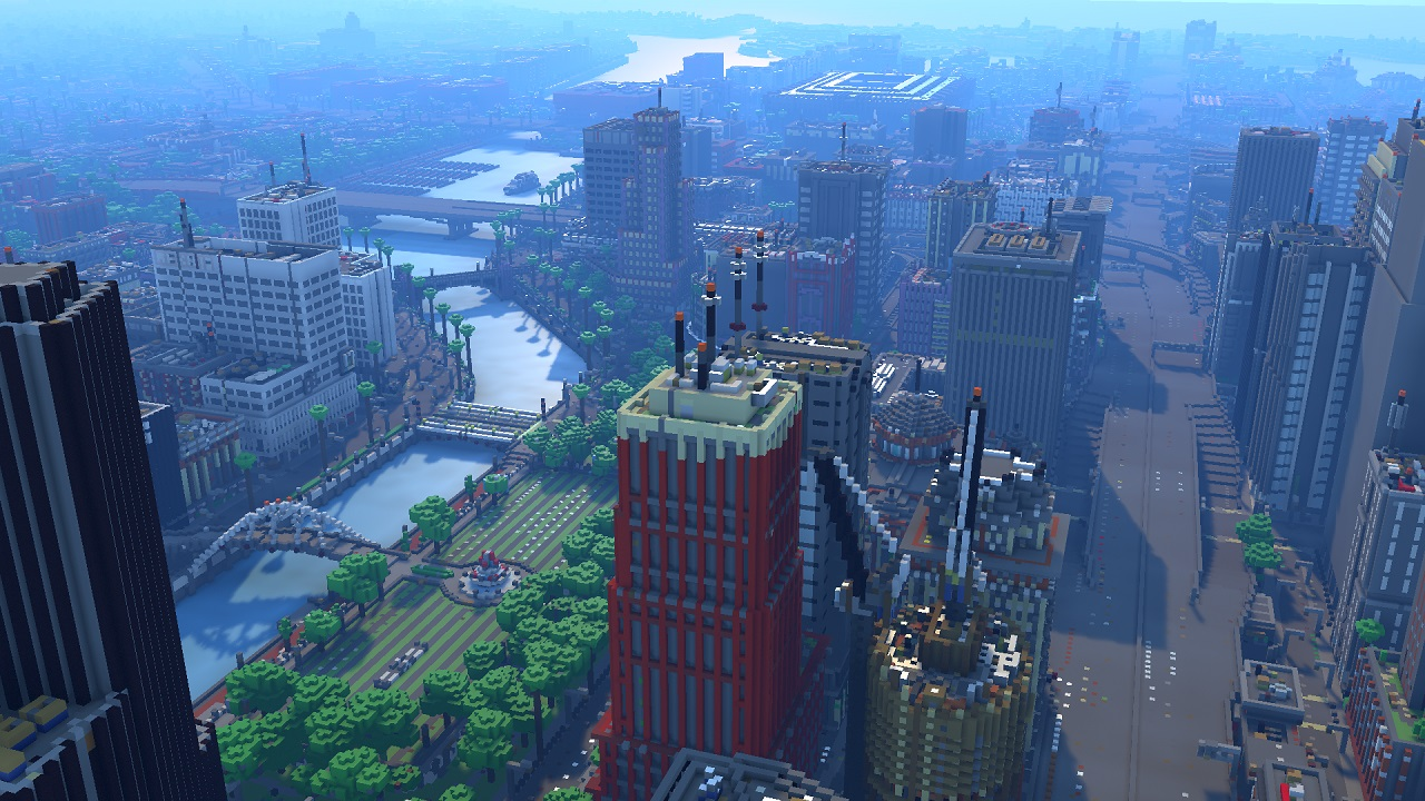 Greenfield City Minecraft map, canal showing specular reflection on the water and buildings glass