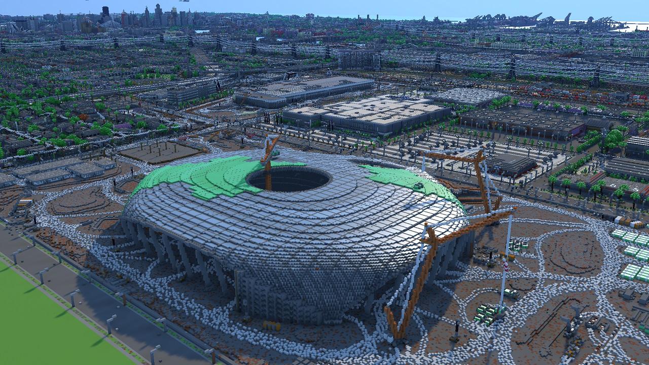 Greenfield City Minecraft map, stadium under construction