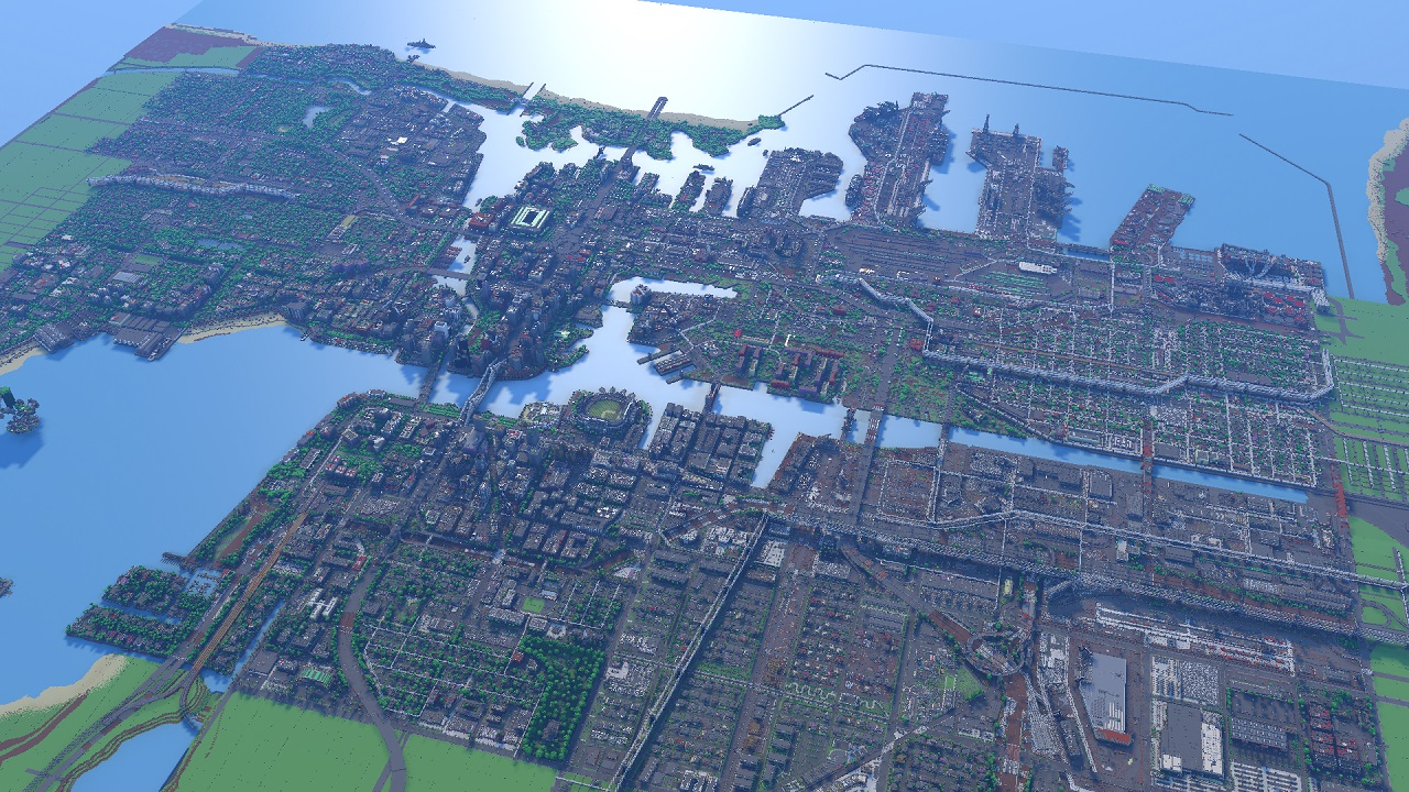 Greenfield City Minecraft map, large view distance, specular reflection on the water