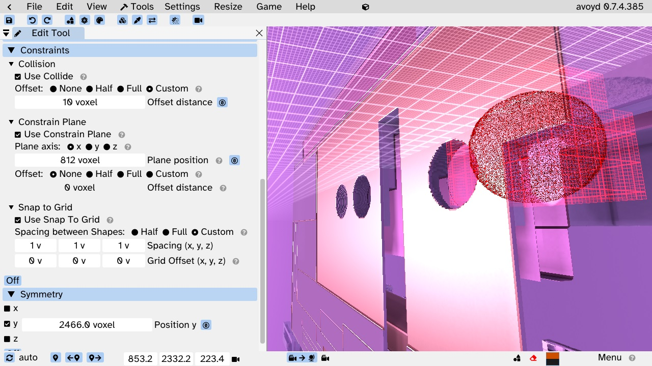 Edit Tool new user interface for Constraints and Symmetry. In-world Constrain and Symmetry planes are shown as a plane with a grid. The white grid in this screenshot is a constrain plane