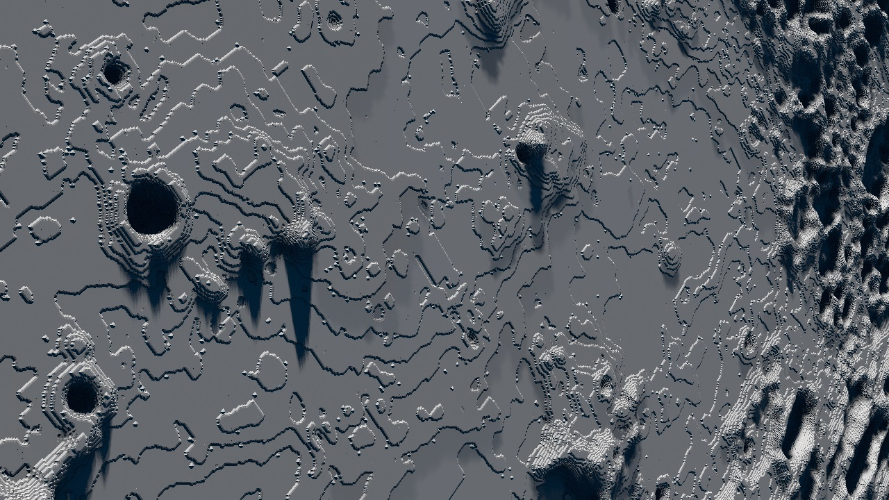 Landscape generated from a moon heightmap, light and atmosphere preset: Deep Space