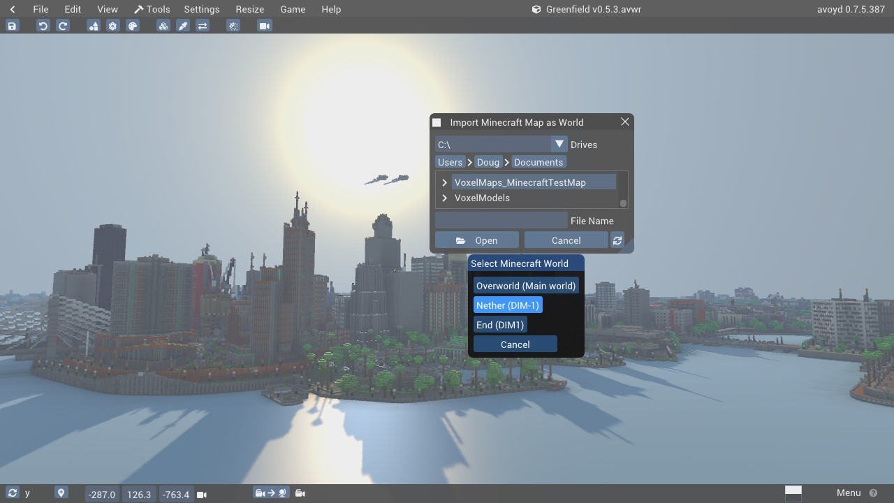 User interface for Minecraft dimensions import. Screenshot featuring Greenfield City