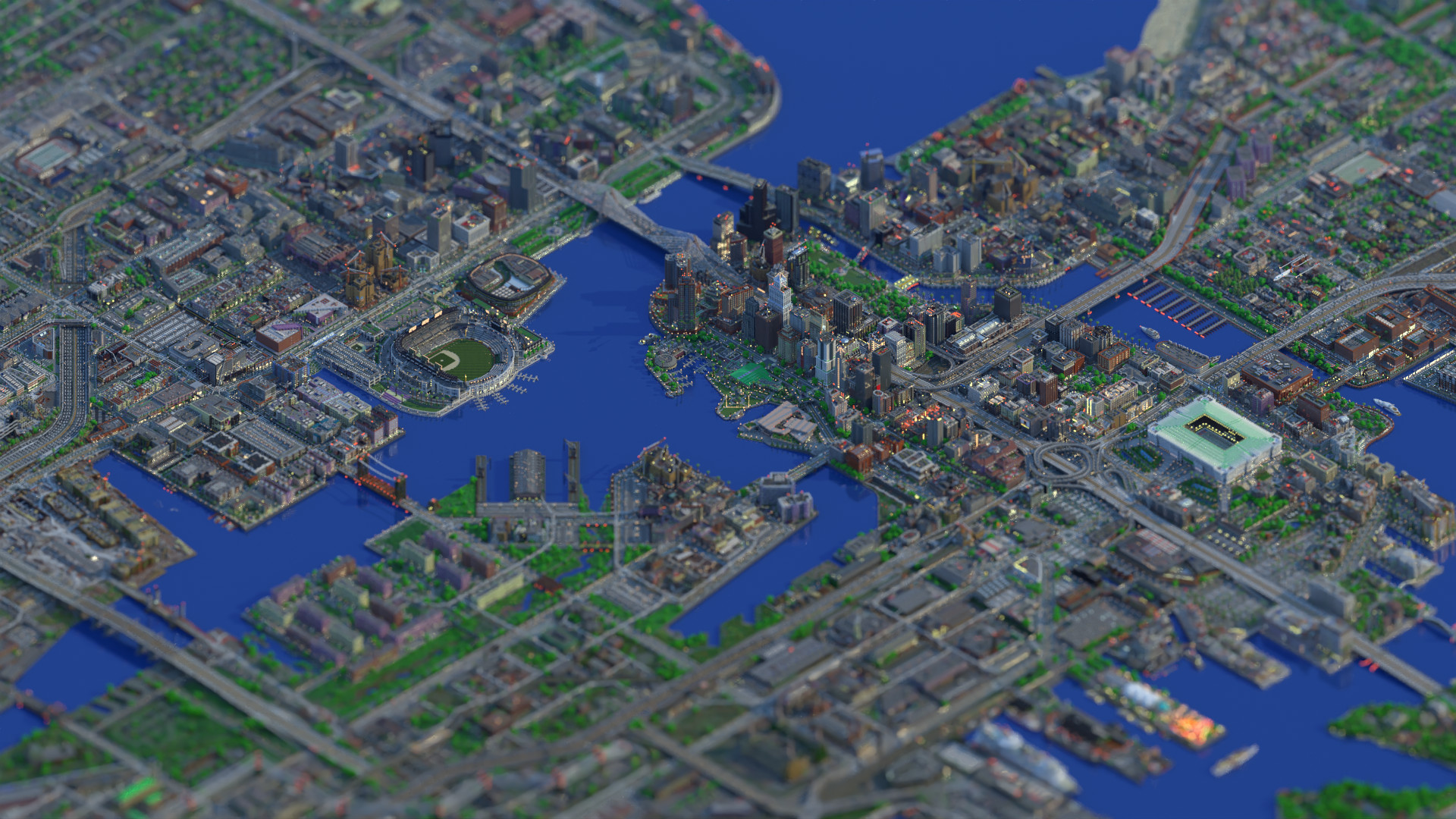 Isometric projection of an imported Minecraft map of Greenfield City, path traced with a depth of field effect and denoised (OIDN denoiser)