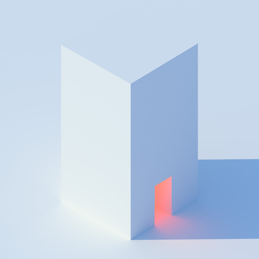 Isometric white box with internal orange light, path traced and denoised (OIDN denoiser)
