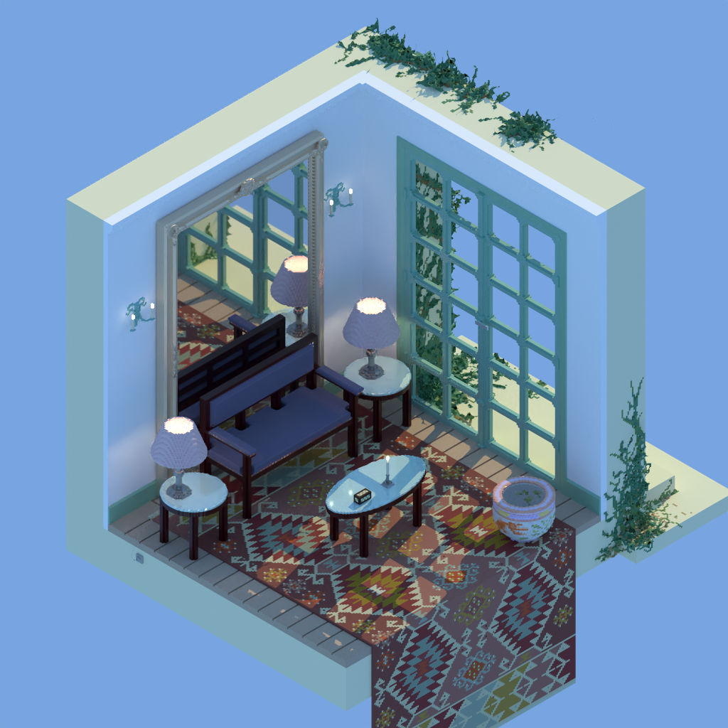 Isometric room created, path traced and denoised (OIDN denoiser) in Avoyd