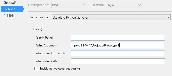 Python Tools for Visual Studio's Project Properties Debug settings - workaround for bug causing python Google App Engine debugging to miss breakpoints