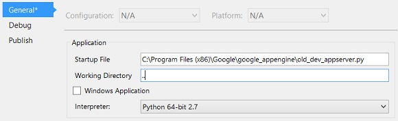 Python Tools for Visual Studio's Project Properties General settings - workaround for bug causing python Google App Engine debugging to miss breakpoints: use old_dev_appserver.py instead of dev_appserver.py