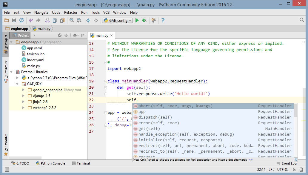 PyCharm python Google App Engine external libraries integration for code navigation and completion