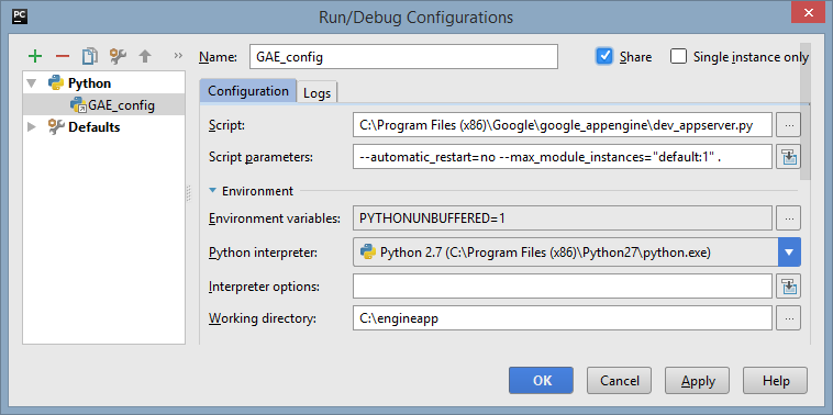 PyCharm python run/debug configuration for Google App Engine