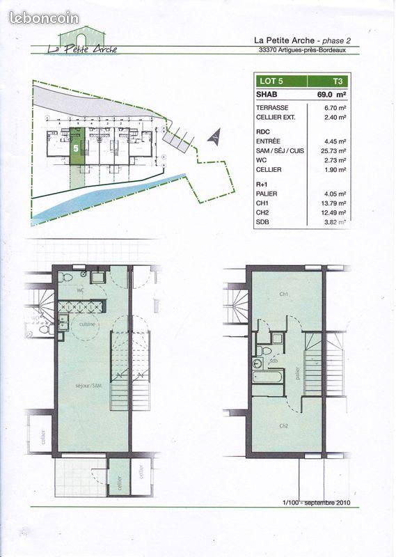 Appartement T3 duplex RDC de 69m² ARTIGUES