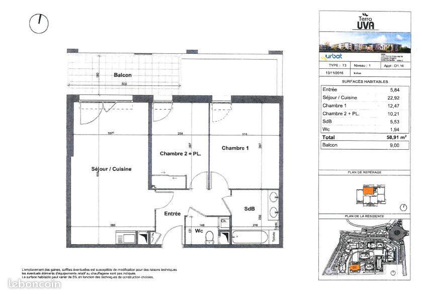 Appartement T3 plan du Castellet