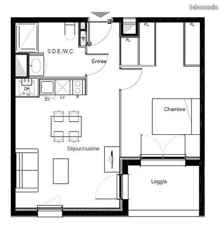 Grand T2 neuf 45 m2