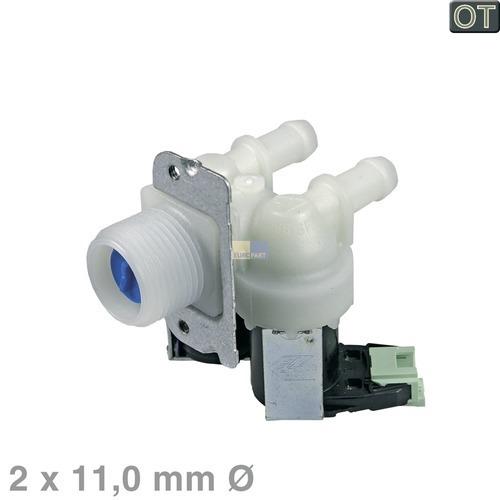 Magnetventil 2-fach 180° 11mmØ 481228128468 Bauknecht, Whirlpool, Ikea, Bosch, S