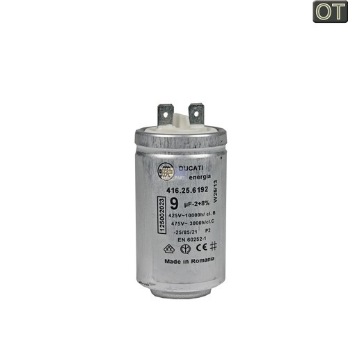 Kondensator 9,00µF mit Steckfahnen 125002022 AEG, Electrolux, Juno, Zanussi