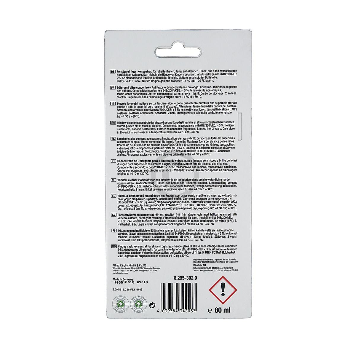 Fensterreiniger-Konzentrat Kärcher RM503 für Akku-Fenstersauger, 4 x 20 ml 6.295