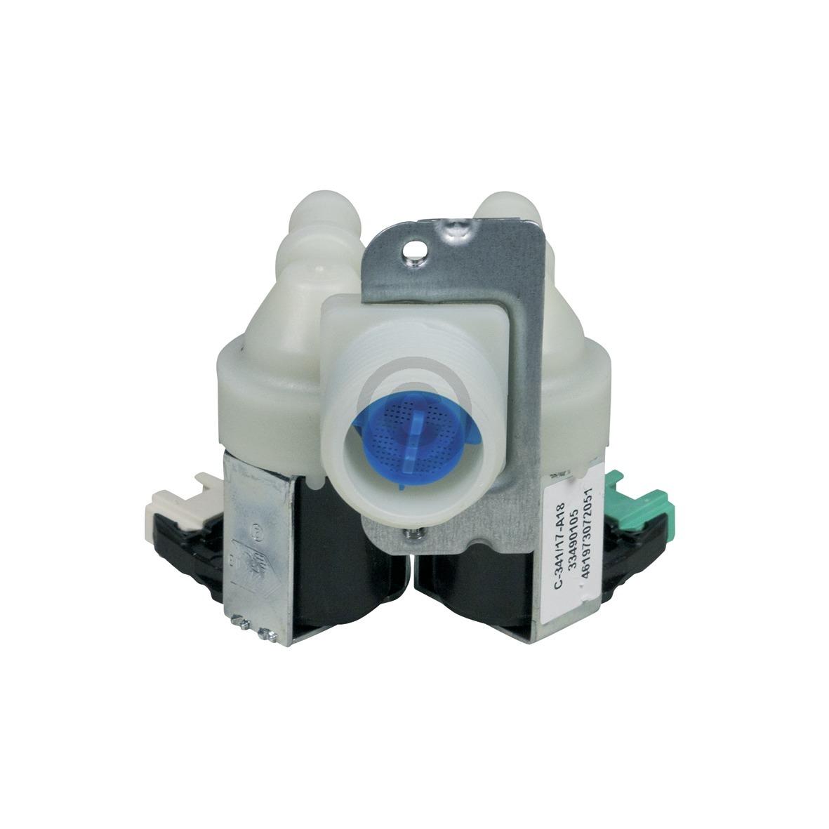 Magnetventil 2-fach 180° 11mmØ für Waschmaschine wie Whirlpool 481228128468